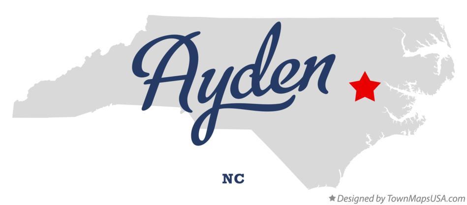 Map of Ayden, NC, North Carolina
