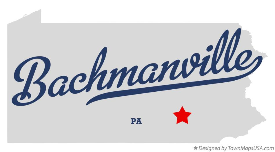 Map of Bachmanville Pennsylvania PA