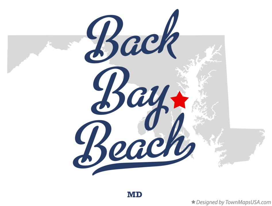 Map of Back Bay Beach Maryland MD