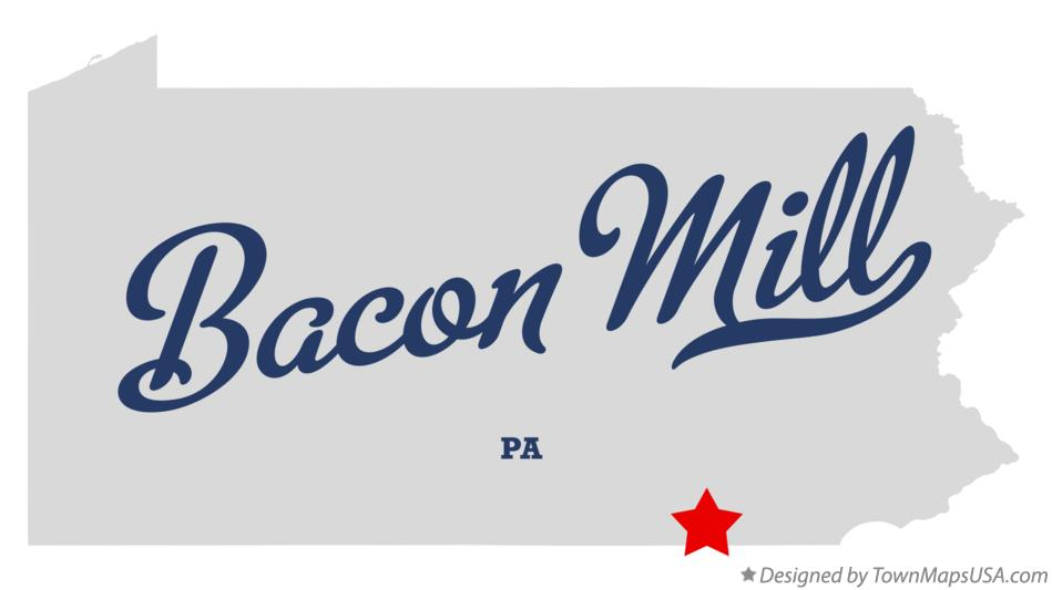 Map of Bacon Mill Pennsylvania PA