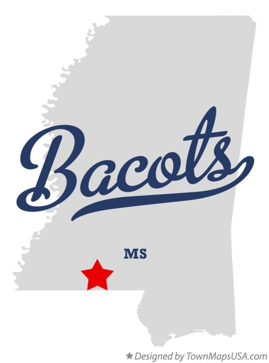 Map of Bacots Mississippi MS