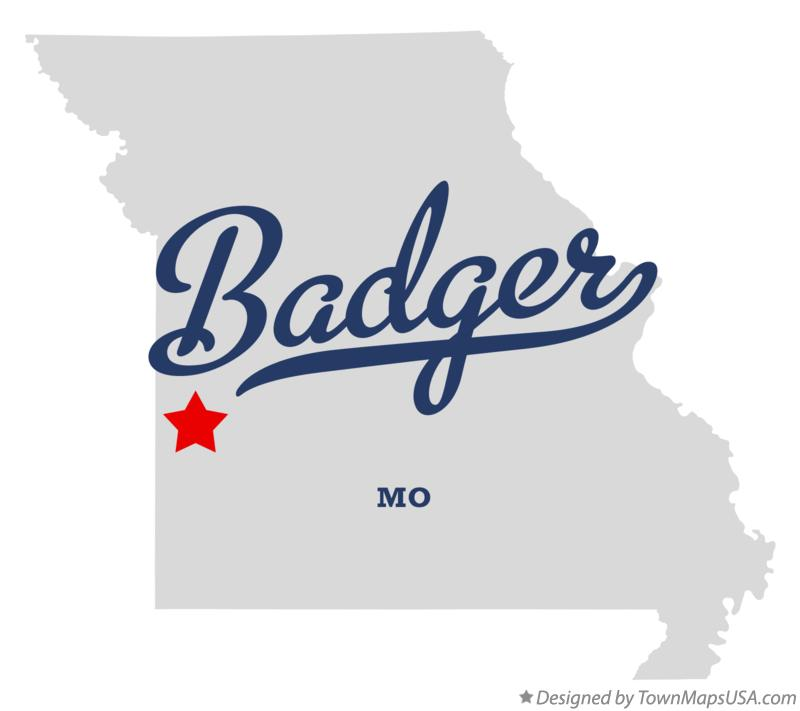 Map of Badger Missouri MO