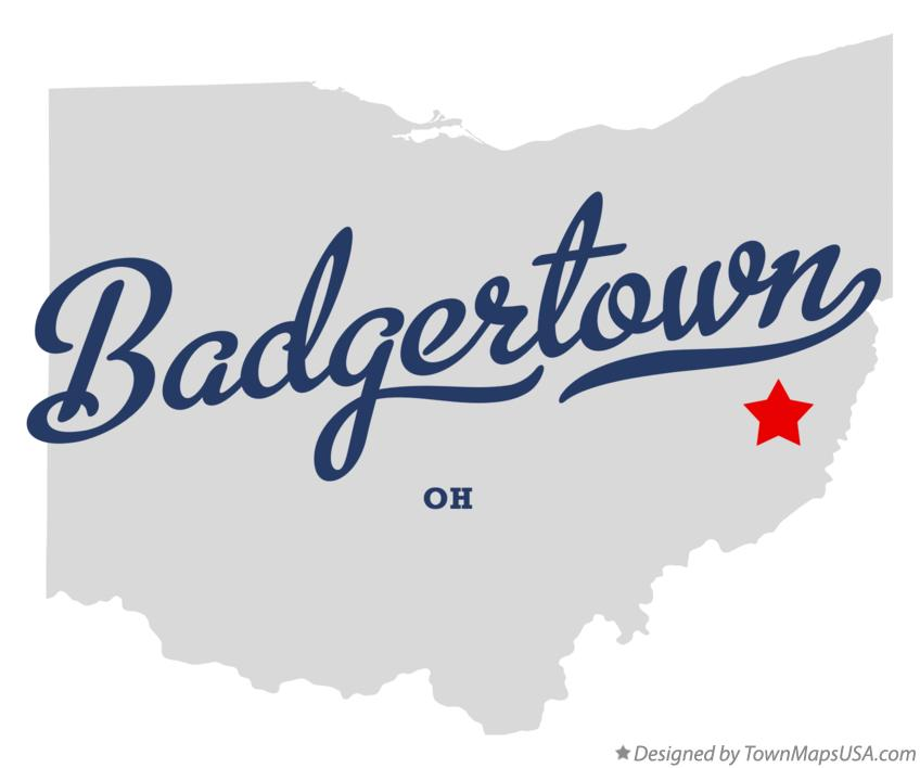 Map of Badgertown Ohio OH