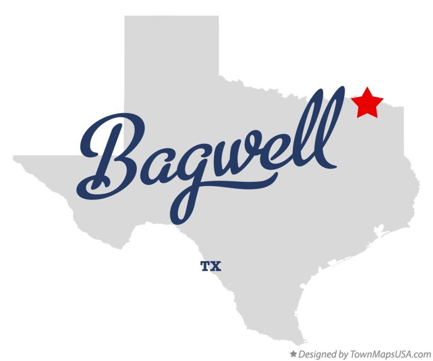 Map of Bagwell Texas TX