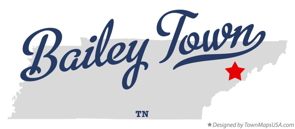 Map of Bailey Town Tennessee TN