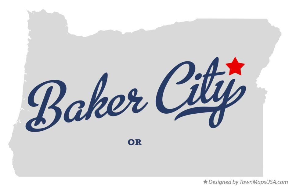 Map of Baker City Oregon OR
