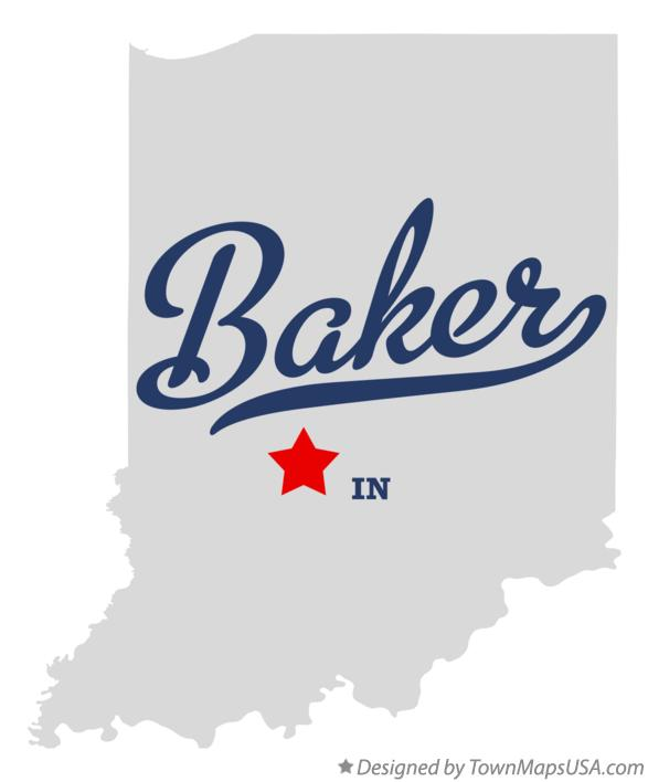 Map of Baker Indiana IN