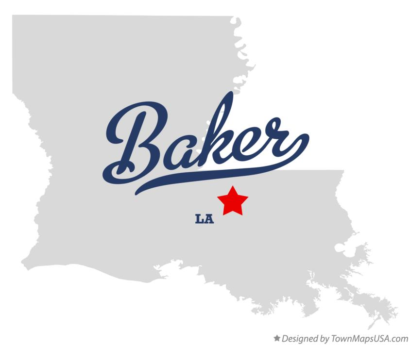 Map of Baker Louisiana LA