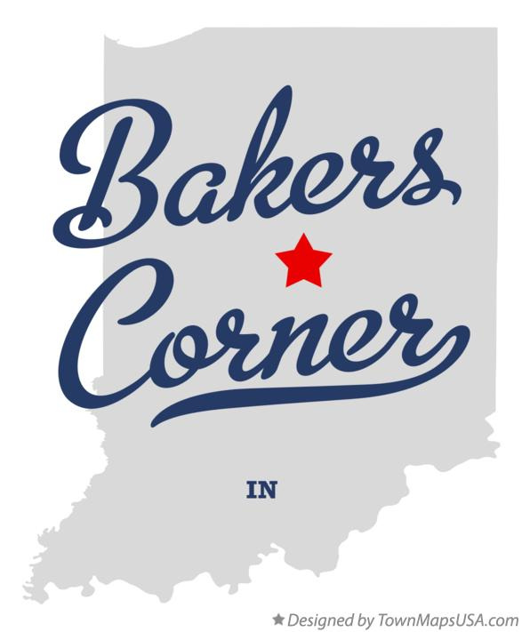 Map of Bakers Corner Indiana IN
