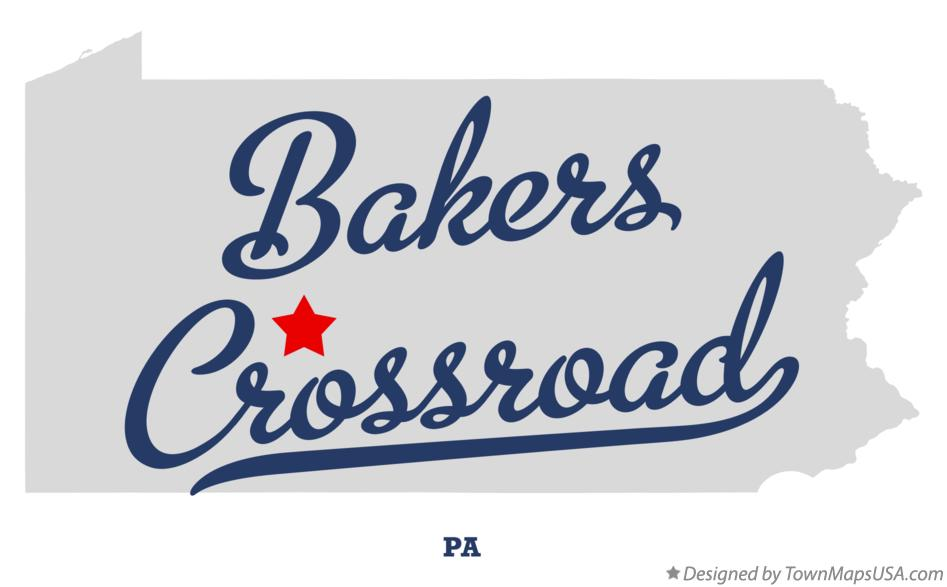 Map of Bakers Crossroad Pennsylvania PA