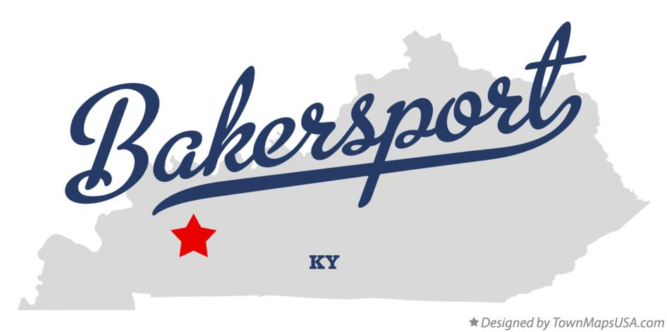 Map of Bakersport Kentucky KY