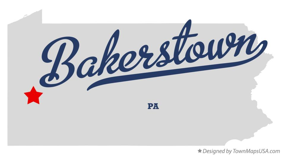 Map of Bakerstown Pennsylvania PA