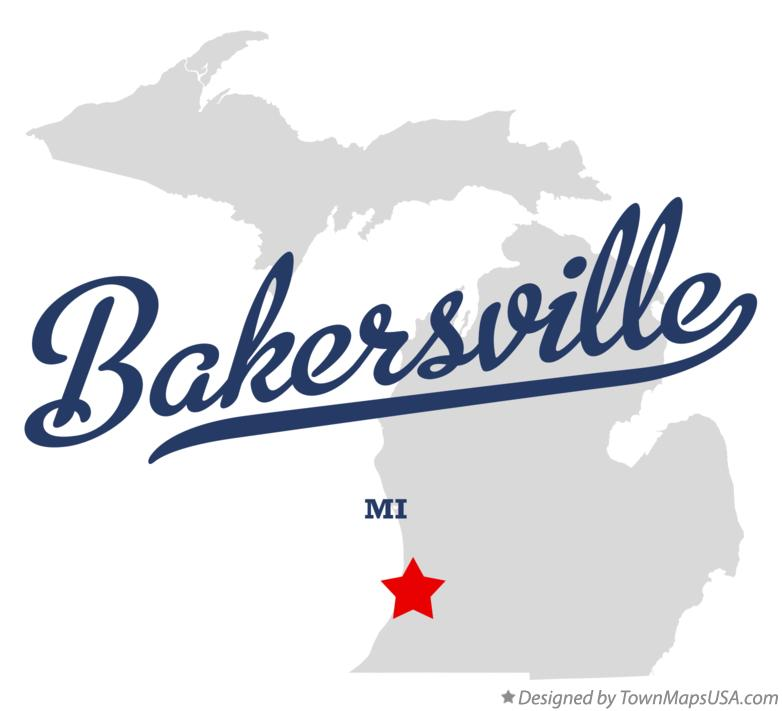 Map of Bakersville Michigan MI