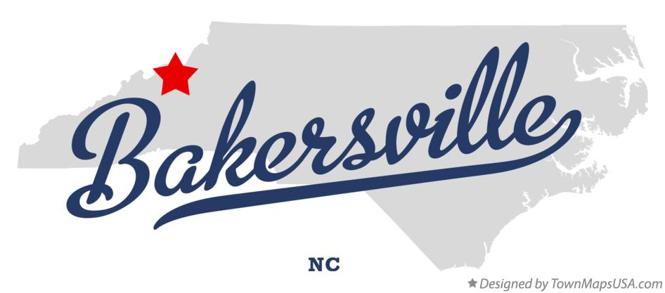 Map of Bakersville North Carolina NC