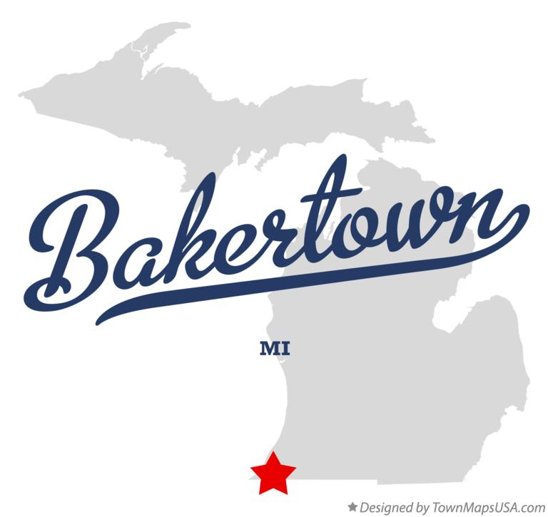 Map of Bakertown Michigan MI