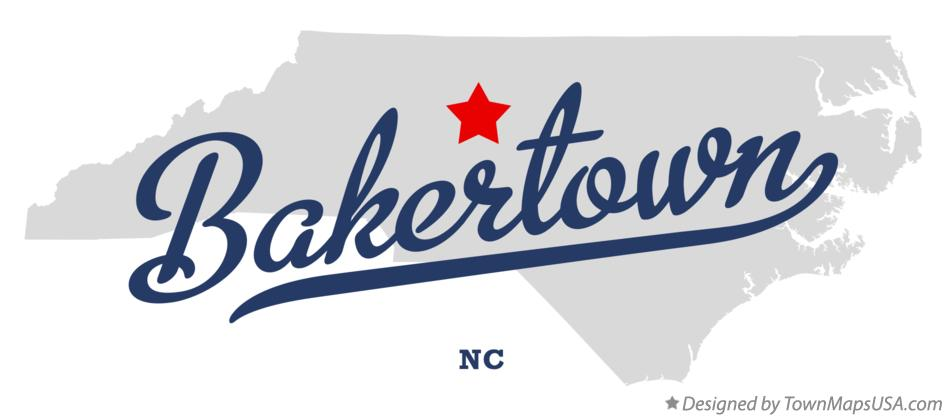 Map of Bakertown North Carolina NC