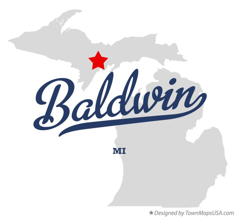 Map of Baldwin Michigan MI