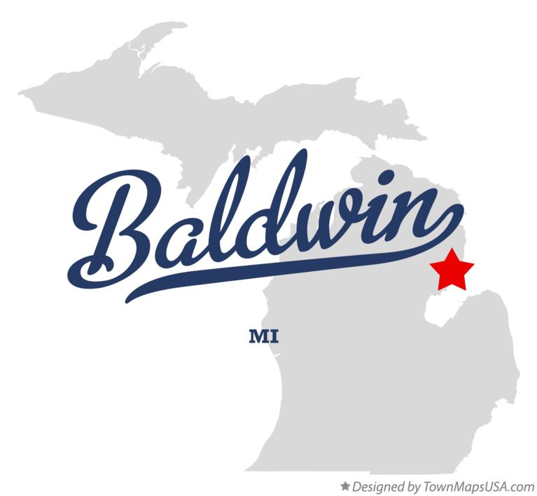 Map Of Baldwin Iosco County Mi Michigan