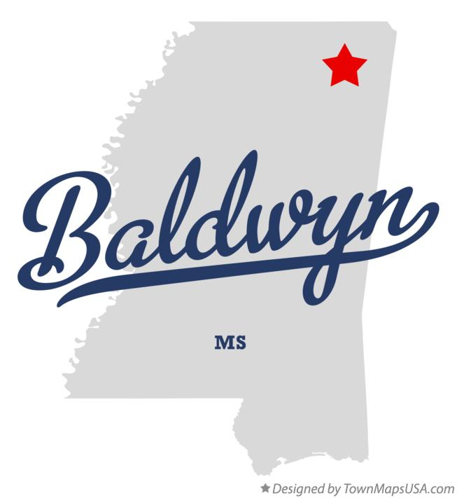 Map of Baldwyn Mississippi MS
