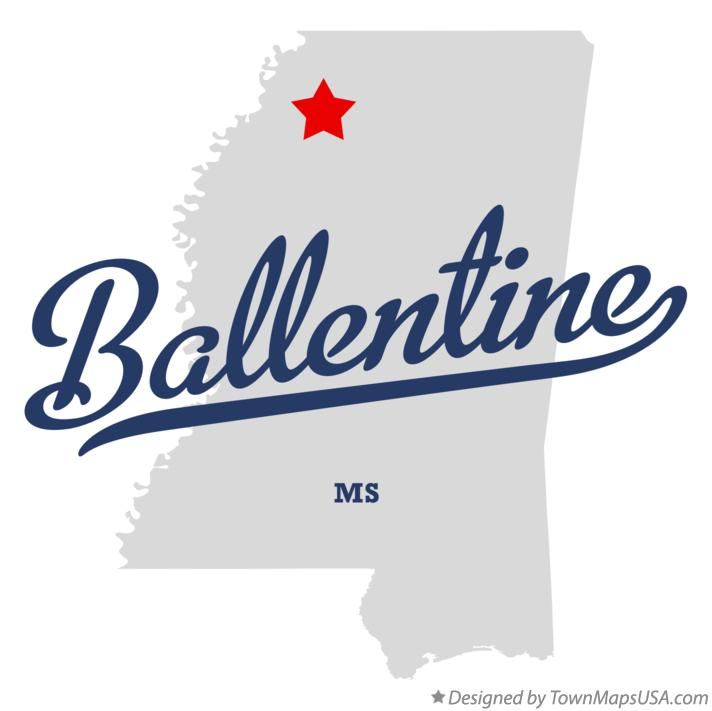 Map of Ballentine Mississippi MS