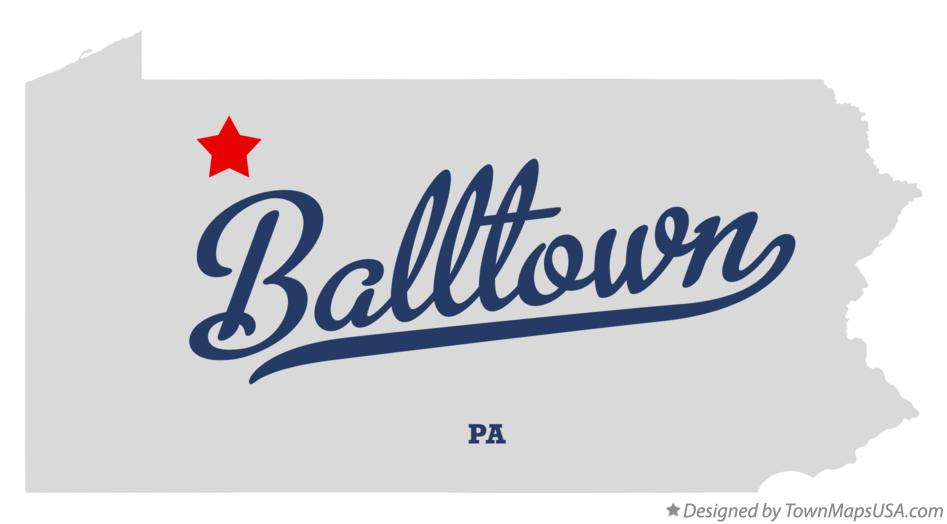 Map of Balltown Pennsylvania PA