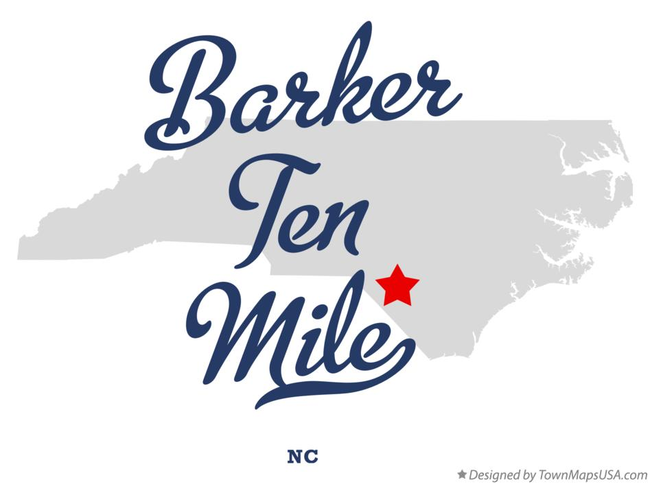 Map of Barker Ten Mile North Carolina NC