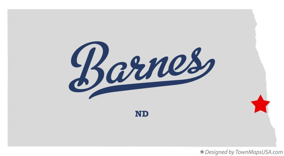 Map of Barnes North Dakota ND