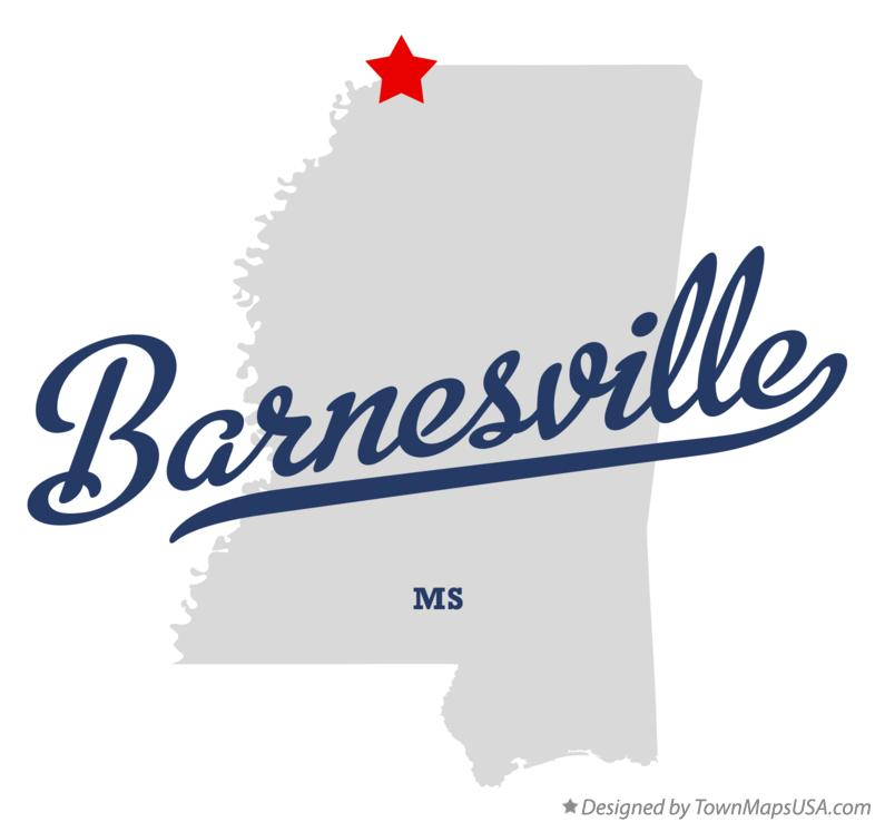 Map of Barnesville Mississippi MS