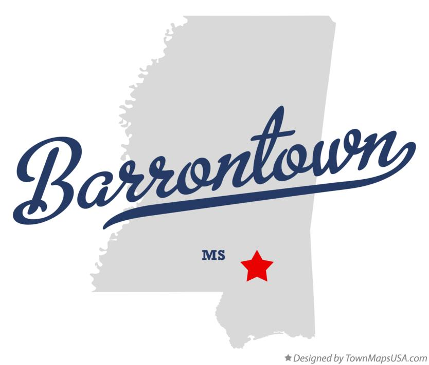 Map of Barrontown Mississippi MS