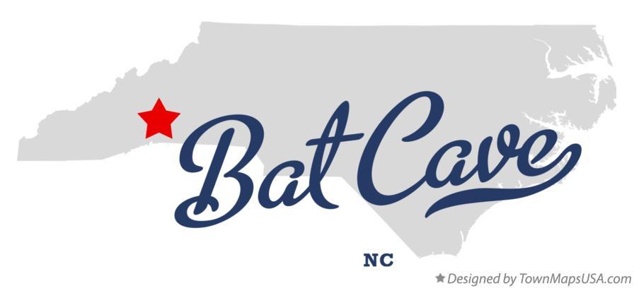 Map of Bat Cave, NC, North Carolina