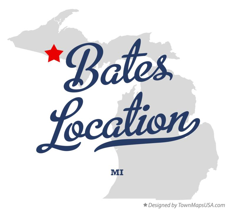 Map of Bates Location Michigan MI