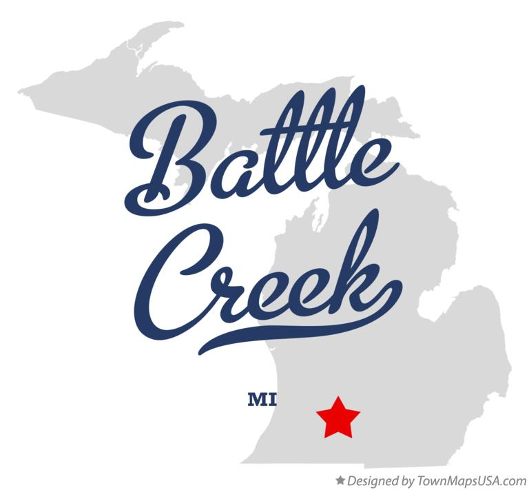 Map of Battle Creek Michigan MI
