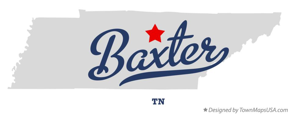 Map of Baxter Tennessee TN