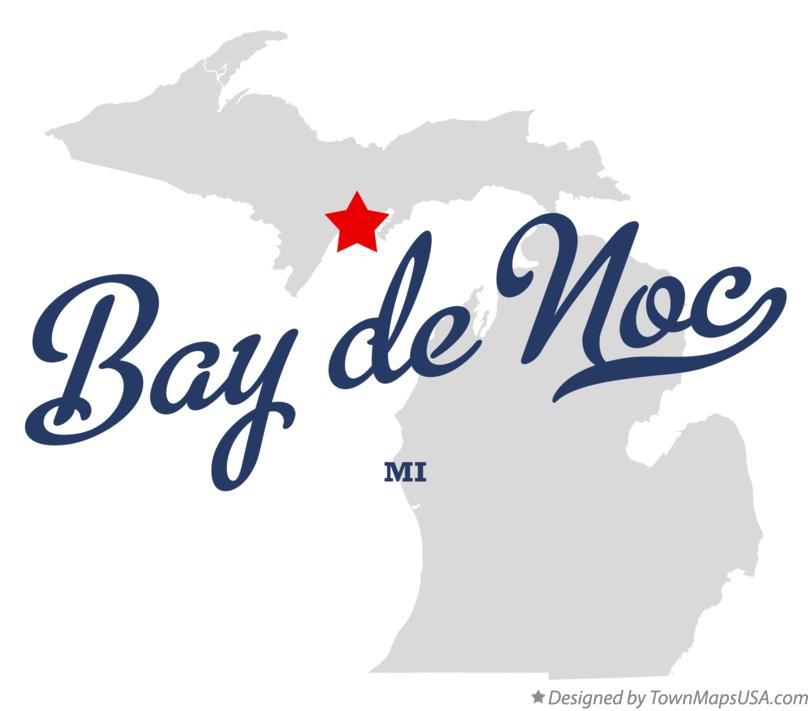 Map of Bay de Noc Michigan MI