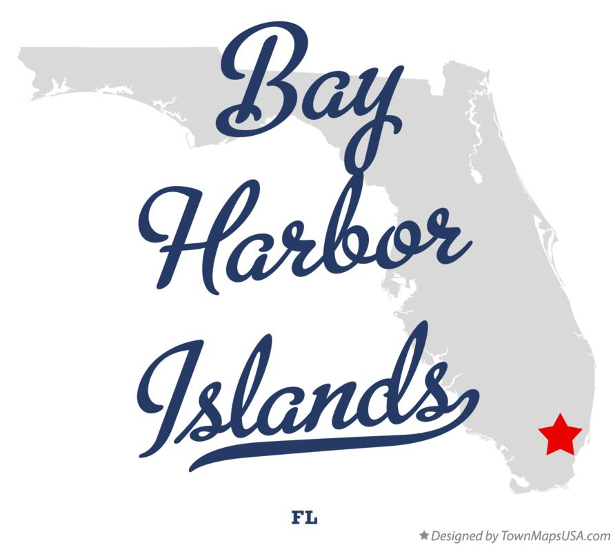Map of Bay Harbor Islands Florida FL