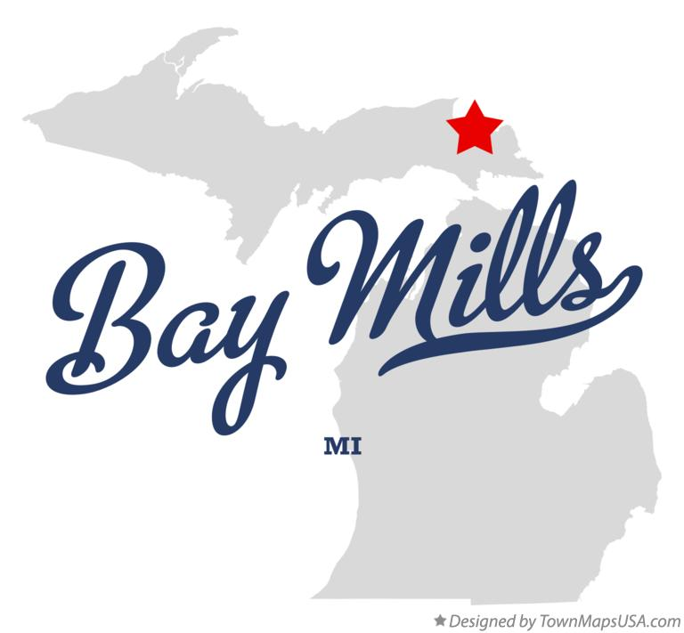 Map of Bay Mills Michigan MI