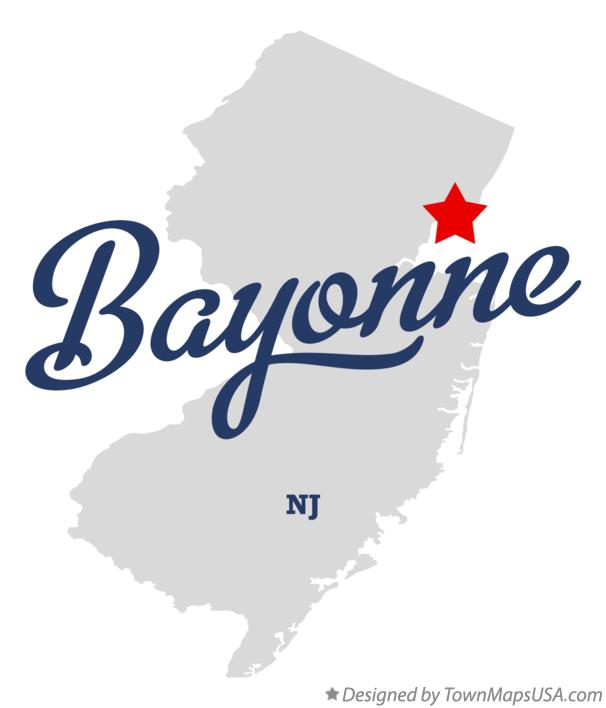 Map of Bayonne New Jersey NJ
