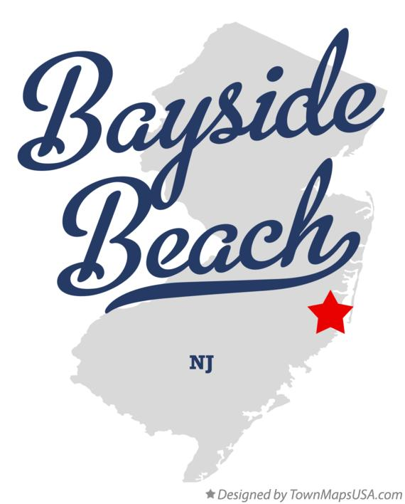 Map of Bayside Beach New Jersey NJ