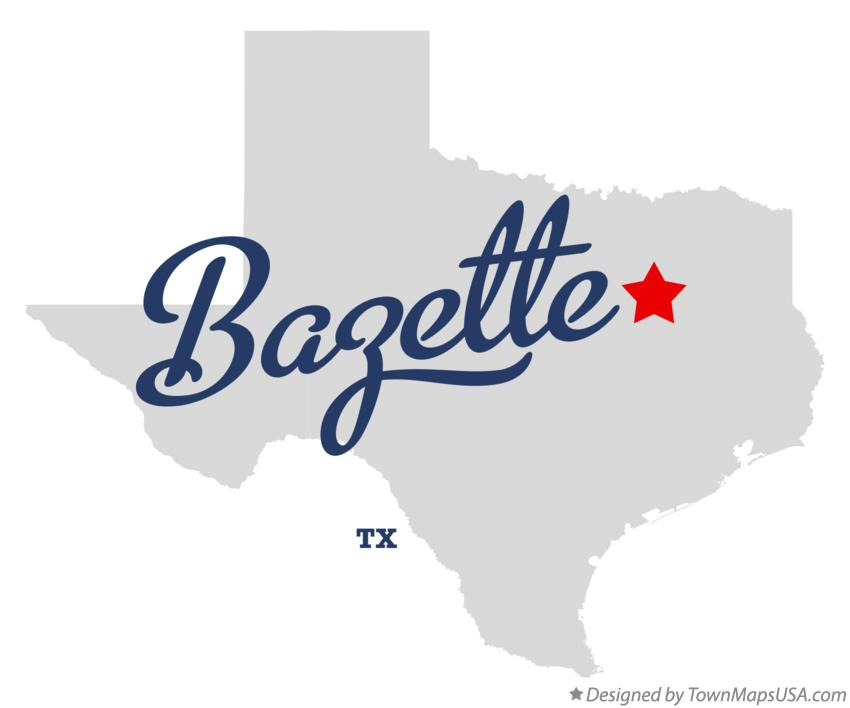 Map of Bazette Texas TX