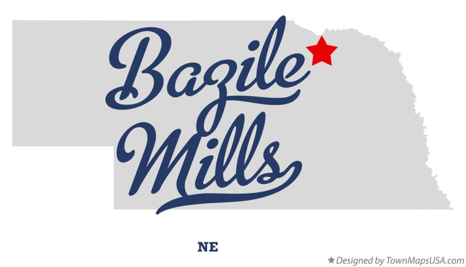 Map of Bazile Mills Nebraska NE