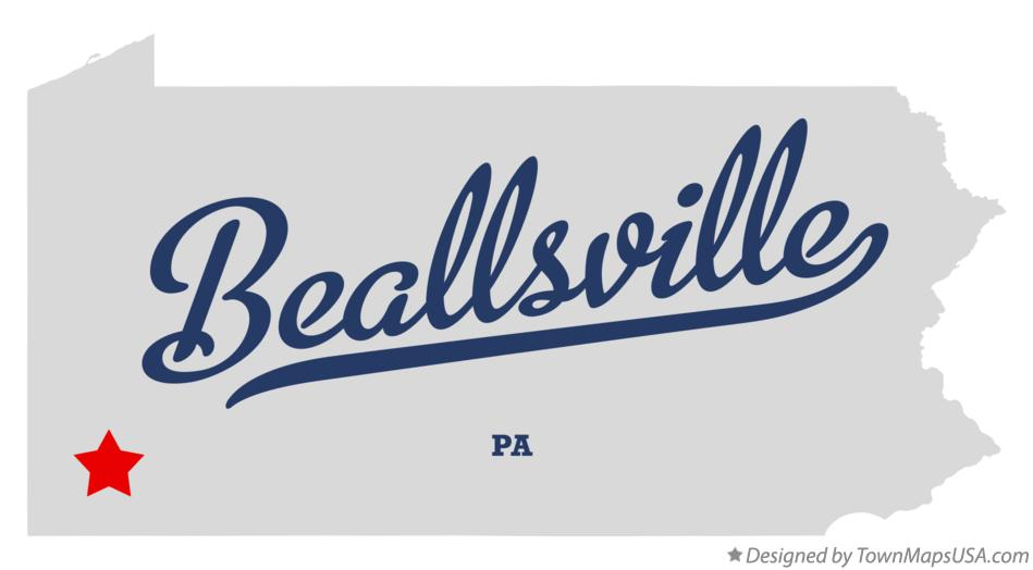 Map of Beallsville Pennsylvania PA