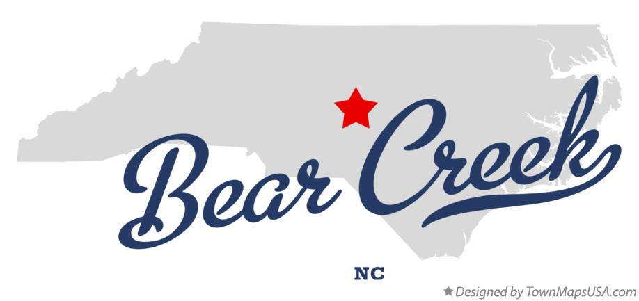 Map of Bear Creek, Chatham County, NC, North Carolina