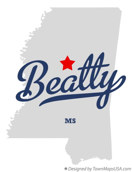 Map of Beatty Mississippi MS