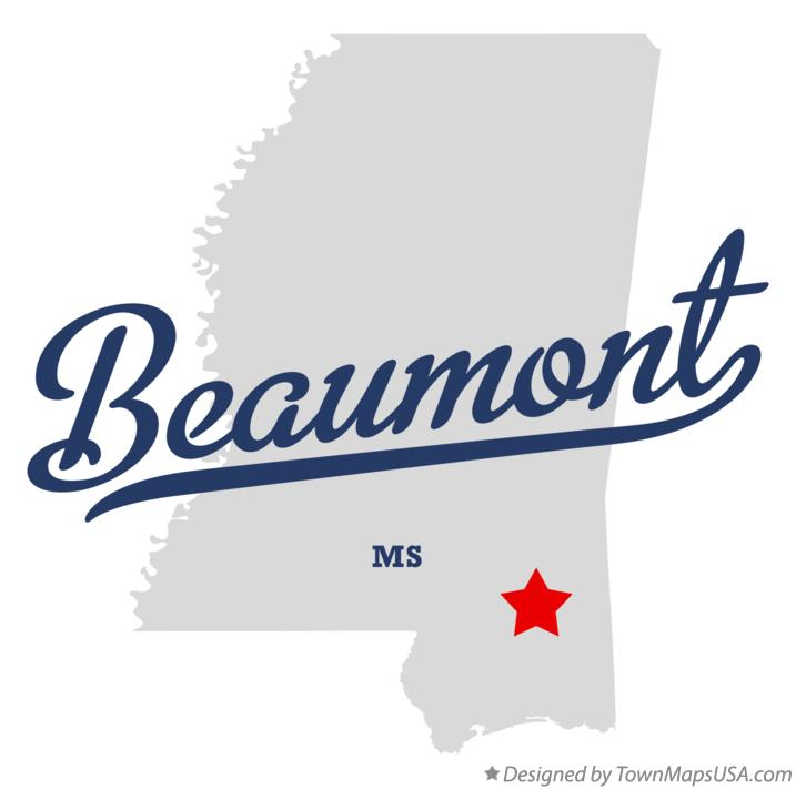 Map of Beaumont Mississippi MS
