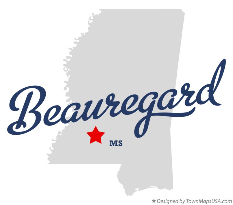 Map of Beauregard Mississippi MS