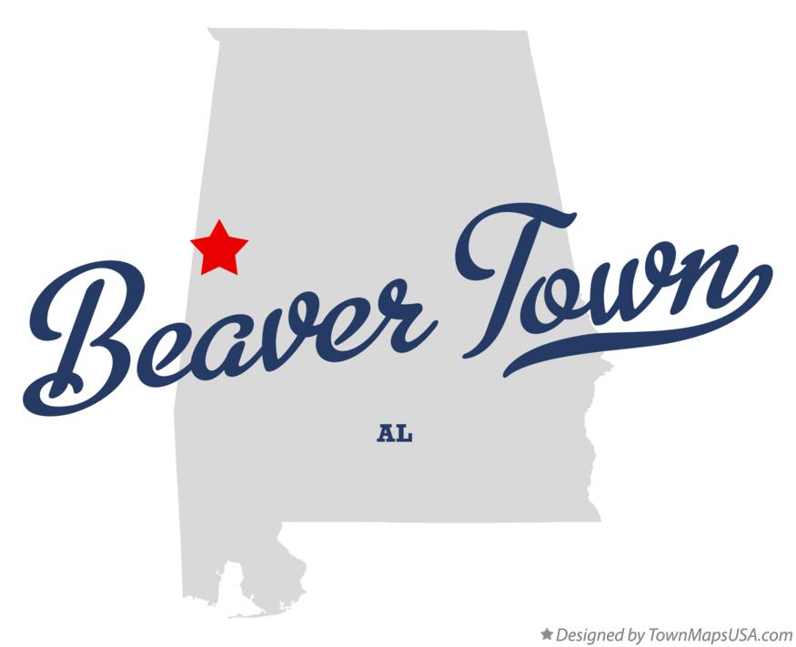 Map of Beaver Town Alabama AL