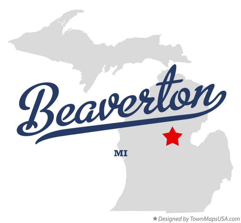 Map of Beaverton Michigan MI