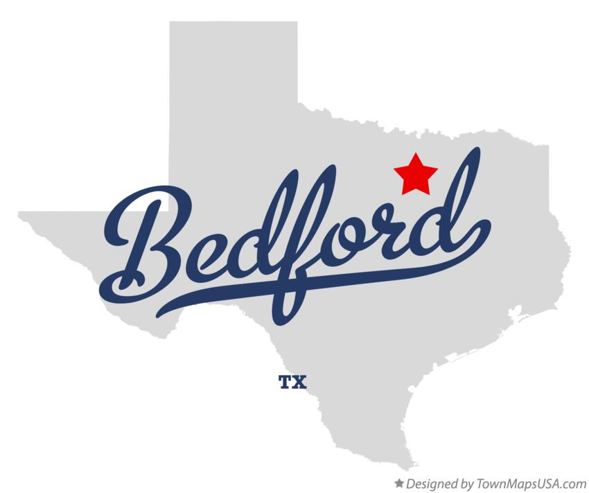 Map of Bedford Texas TX