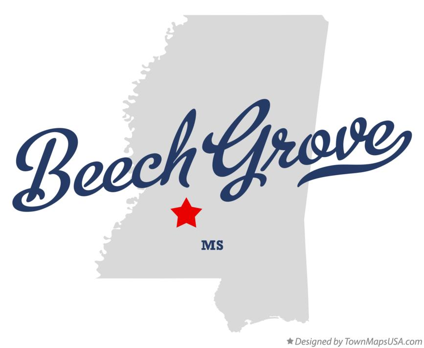 Map of Beech Grove Mississippi MS
