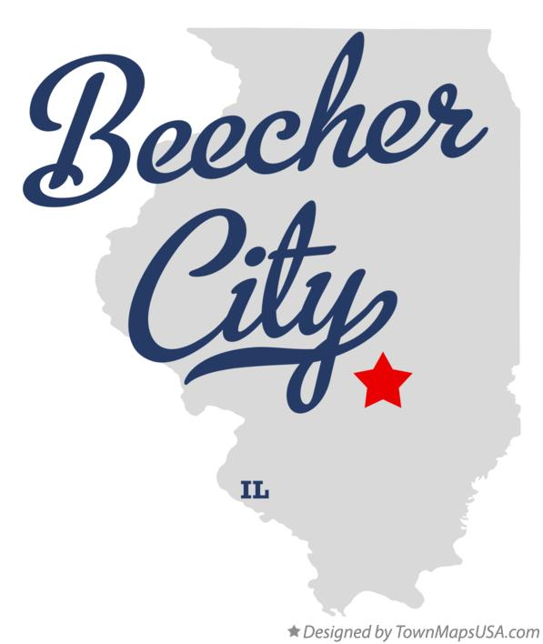Map of Beecher City Illinois IL